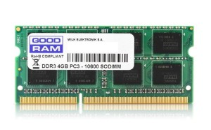 Pamięć RAM GOODRAM SODIMM DDR3 4GB/1333 CL9 512*8 Single Rank