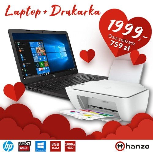 Laptop HP 255 G7 A9-9425 + Drukarka HP 2710